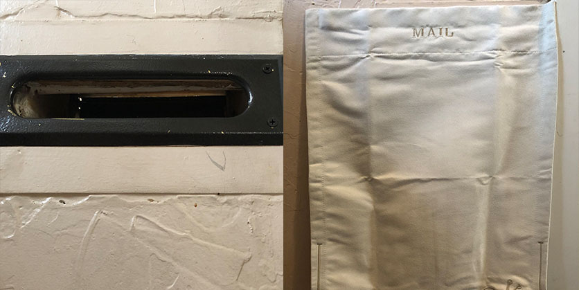 Before and after of a mail slot - left side is a drafty mail slot, right side is the same mail slot with a mail bag installed