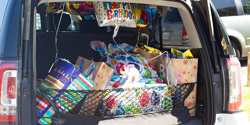 Birthday supplies in trunk of car