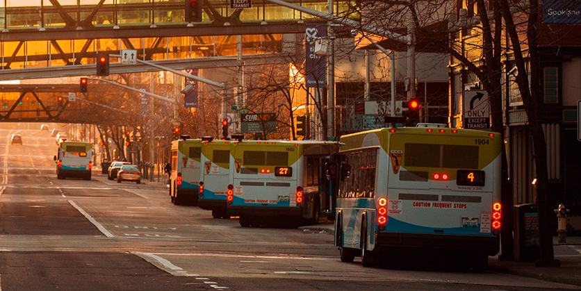 Line of buses in front of STA Plaza, downtown Spokane