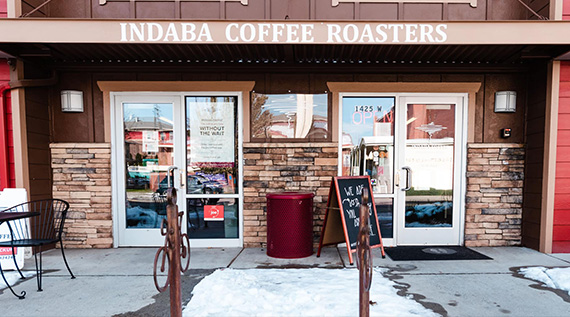 Outside view of Indaba Coffee Roasters shop