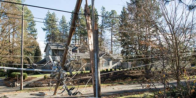 Power pole broken in half after a bad wind storm