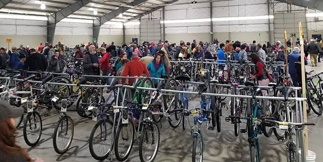 People looking at bikes at the Bike Swap