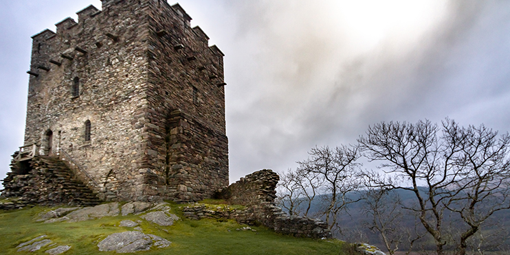 Ruins of Dolwyddelan in Snowdonia National Park
