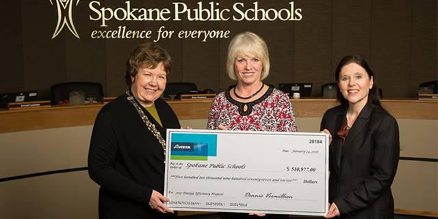 Spokane Public Schools receives check for energy efficiency rebates