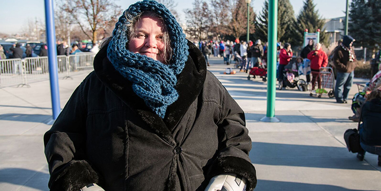 Woman smiling in winter clothes