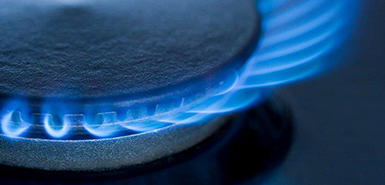 Gas flame closeup