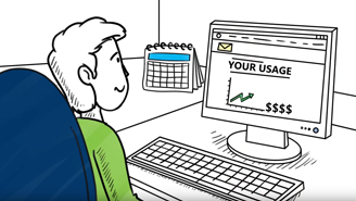Illustration of person at their computer looking at a graph of their energy usage online