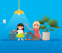 Illustration of a little girl petting a cat next to a woman sitting on the ground next to a plant. A light shines overhead them