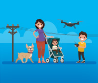 Illustration of a family taking a walk outside - the little boy is flying a drone away from power lines