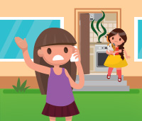 Illustration of two little girls leaving their house - a stinky smell is coming from their oven and one of the girls is looking distressed while making a phone call