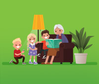 Illustration of a grandma sitting on a chair reading to three children. A lamp is on next to them