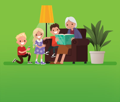 Illustration of a grandma sitting on a couch, reading a book to three little kids